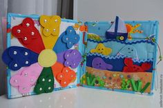 Купить Книжка из фетра Развивающая Детская - развивающая книжка, из фетра, из ткани, детская