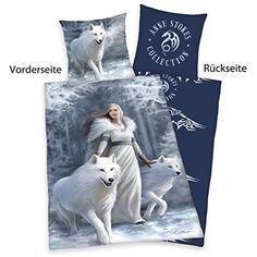 Herding 4481037050 Anne Stokes ropa de cama, funda de almohada, 80 x 80 cm y funda de edredón, 135 x 200 cm, diseño de