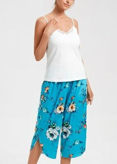 Talia Kapri Takımı - EKRU Bloom Coffee, Dark Flowers, Mavis, Coffee Time, Pajama Pants, Model, Fashion, Moda, Sleep Pants