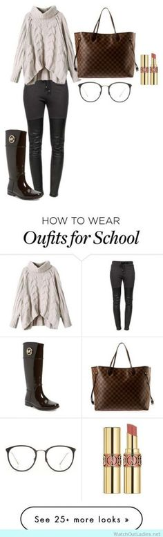 Cozy outfit for school with louis vuitton tote -