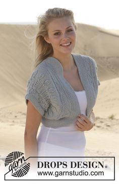 "Knitted DROPS bolero with lace pattern in ""Alpaca"". Size: S - XXXL. ~ DROPS Design"