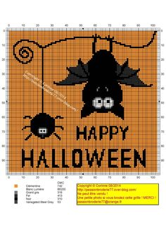 Cross Stitch Embroidery Adorable happy Halloween bat and spider cross stitch pattern. Fall Cross Stitch, Cross Stitch Needles, Cross Stitch Charts, Counted Cross Stitch Patterns, Cross Stitch Designs, Cross Stitch Embroidery, Embroidery Patterns, Halloween Embroidery, Halloween Cross Stitches