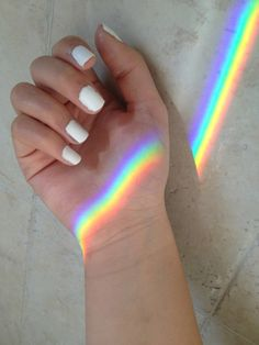 Imagen de rainbow, nails, and white