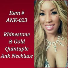 Rhinestone & Gold Quintuple Ank Necklace with Earrings $25 Order by Email: IDRegalia.RoyalJewels@gmail.com