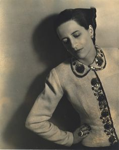 Diana Vreeland in a Schiaparelli embroidered jacket by Louise Dahl-Wolfe . FROM THE PRIVATE COLLECTION OF DIANA VREELAND.