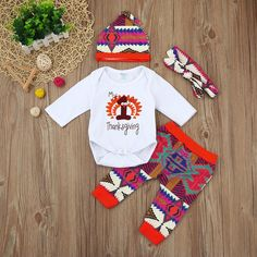 2f90baabcd335 4Pcs Infant Baby Boy Girl Romper Romper+Pants+Hat+Headband Outfits Sets  Festivals Clothing Sets My First Thanksgiving Party Sets