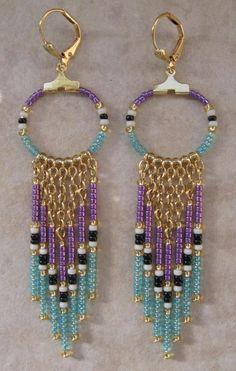 SALE  Seed Bead Chain Hoop Earrrings  Purple/Baby by pattimacs