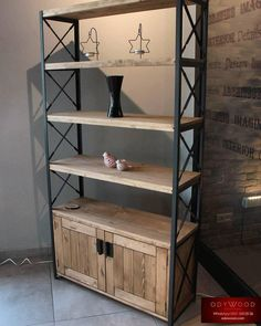 The Revolution series bookcase is produced in customized dimensions. Diy Furniture Ikea, Metal Furniture, Ikea Billy Bookcase Hack, Billy Bookcases, Vintage Shelf, Muebles Living, Bookshelf Design, Home Furnishings, Wood