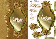Gouden Verjaardag Zwanen Met Decoupage