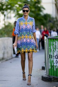 beautiful summer dress with high heels. spotted on the fashion weeks. streetstyle look on point