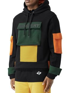 Men's Ludford Colorblock Multi-Pocket Hoodie Sweatshirt by Burberry at Neiman Marcus New T Shirt Design, Shirt Designs, Stylish Hoodies, Burberry Men, Gucci Men, Designer Clothes For Men, Hoodie Outfit, Mens Sweatshirts, Custom Clothes