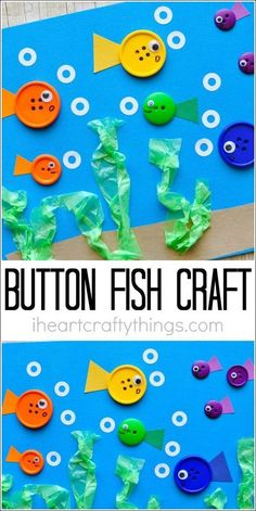 This simple button fish craft for kids makes a perfect summer kids craft and there are tons of great books to go along with it. This simple button fish craft for kids makes a perfect summer kids craft and there are tons of great books to go along with it. Fish Crafts Kids, Ocean Crafts, Summer Crafts For Kids, Daycare Crafts, Crafts For Kids To Make, Craft Activities For Kids, Toddler Crafts, Preschool Crafts, Projects For Kids