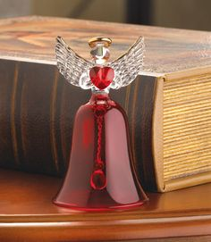 ruby glass angel bell - gift idea for a collector
