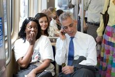 Woman was on the phone being interviewed for a job and this guy (mayor of Chicago) randomly grabbed her phone to put in a good word.