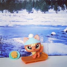Littlest Pet Shop Fox 1028 Peach Orange Yellow Arctic Original Hat Accessories  #Hasbro