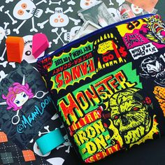 Monster Masks Cosmetic Bag: Halloween Catalog Print, Killer Clowns, Zombies, Vampires.