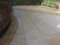 Gold granite paving, cobbles & kerbs - Flynn Landscapes Granite Paving, Stone Landscaping, Natural Stones, Tile Floor, Landscapes, Sidewalk, Patio, Flooring, Gold