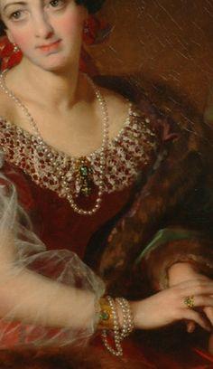Countess Barbara von Castiglione (detail), 1858, by Friedrich von Amerling (Austro-Hungarian, 1803-1887).