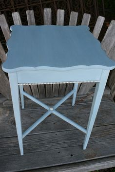 Revamp this old table with Louis Blue and Old White for the trim using Chalk Paint® decorative paint by Annie Sloan. Artistry: The Loot.