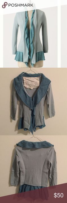 Anthropologie Whipped Woolens Cardigan Thin but cosy Anthropologie cardigan made of wool and mohair. Open front. Color is light blue with turquoise drape. Front can be closed with a hook. In excellent condition. Anthropologie Sweaters Cardigans