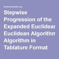 Stepwise Progression of the Expanded Euclidean Algorithm in Tablature Format