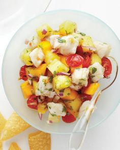 Be sure to serve this ceviche immediately after mixing in the fruit: fresh mango and pineapple have enzymes that will break down the fish and make it mushy if left for too long.