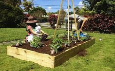 Raised bed gardening is family fun! Teaching your children to grow their own food is a valuable and foundational part of their education! ~ Easy Edible Landscapes Miami