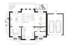 Projekt domu prefabrykowanego w podwarszawskim Konstancinie Floor Plans, Diagram, Floor Plan Drawing