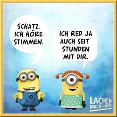 Lachen Macht Happy, Happy Minions, Humor, Cool Stuff, Smileys, Fun, Cartoon, Sweets, Funny Sayings