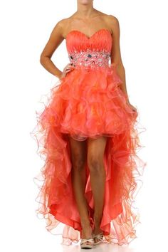 Coral High Low Dress Pleated Sweetheart Neck Layered Organza Skirt  $267.99