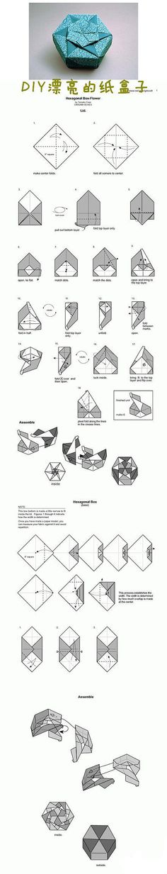 Origami Hexagon Flower Box: by adela Box Origami, Origami And Kirigami, Origami Paper Art, Modular Origami, Oragami, Origami Flowers, Diy Paper, Paper Flowers, Paper Crafts