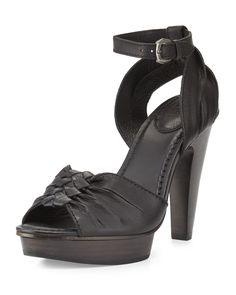 Samara Twisted Leather Sandal, Black - Frye