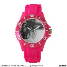 Black Fire II Sporty Pink Silicon Watch Designed by Artist C.L. Brown and available in a variety of styles on Zazzle. #watch #watches #fashion #accessories #artbyclbrown