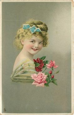 young girl faces right, looks front, pink & red roses as corsage
