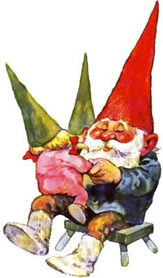 Grandpa Gnomie takes time out and plays with the Gnomiekins.