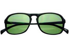 Keyhole Fashion Flat Top Sunglasses Matte Black Green Lens FT492