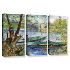 Fishing In Spring, The Pont De Clichy (Asnieres) by Vincent Van Gogh 3 Piece Gallery-Wrapped Canvas Set
