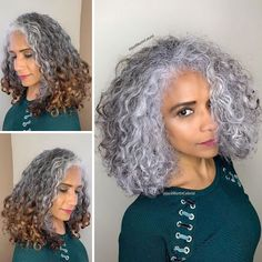 Hairdresser-Gray-Hair-Makeovers-Jack-Martin Pelo Color Vino, Blonde Grise, Grey Hair Transformation, Curly Hair Styles, Natural Hair Styles, Gray Hair Highlights, Gray Hair Growing Out, Transition To Gray Hair, Silver Hair