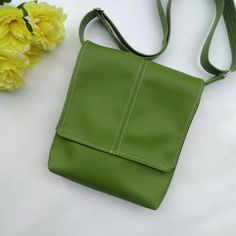 Kiwifruit Green faux leather vegan messenger cross body crossbody shoulder  bag by CaptureHandmadeBags on Etsy