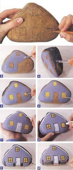 kokokoKIDS: Painted Rocks for a Fairy Garden Pebble Painting, Pebble Art, Stone Painting, Rock Painting, Garden Painting, House Painting, Stone Crafts, Rock Crafts, House On The Rock