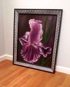 Original Hand Painted Canvas Art Iris Oil Painting Framed 27 x 33 Artist Signed #ContemporaryArt