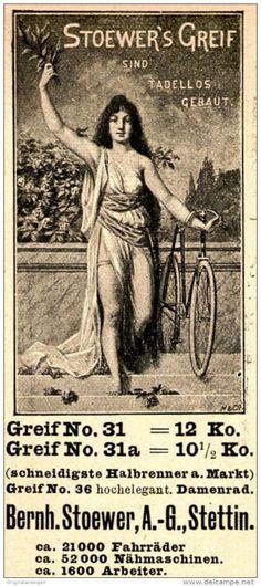Original-Werbung/ Anzeige 1898 - STOEWER'S GREIF FAHRRÄDER - STETTIN - ca. 45 x…