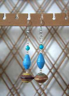 Brown and Blue Paper Bead Earrings by OliveTreeHandmade on Etsy, $9.00
