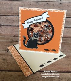 Stampin Up Spooky Cat Halloween Shaker Card - Rosanne Mulhern - Heartfelt Stamping Halloween Paper Crafts, Halloween Tags, Halloween Favors, Halloween 2017, Halloween Ideas, Thanksgiving Cards, Holiday Cards, Spinner Card, Cat Cards
