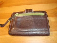 Fossil Brown Pebbled Leather Bi Fold Wallet W/Green Fabric & Outer Coin Purse #Fossil #Bifold