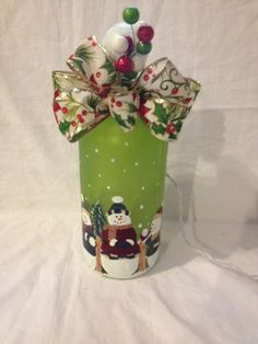 Hand Painted lighted Snowmen Bottles Lighted by MyPaintedTreasures, $22.00