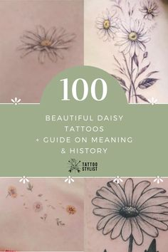 Daisy Tattoo Guide - Find best and more about the meaning and history of these White Daisy Tattoo, Small Daisy Tattoo, Daisy Flower Tattoos, Flower Thigh Tattoos, Feather Tattoos, Tatoos, Daisy Tattoo Meaning, Tattoos With Meaning, Scorpio Sign Tattoos
