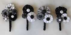 fabric boutineers @Carly Miller how cute would these be for a wedding??? In the right colors/fabrics, of course.