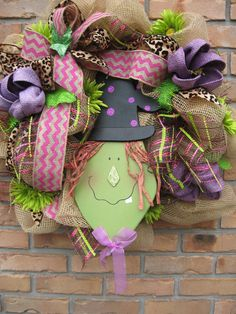 TOOTHY GRIN WITCH on burlap deco mesh wreath, leopard print ribbon, chevron ribbon bow, burlap flowers- Halloween wreath, Happy witch on Etsy, $57.99