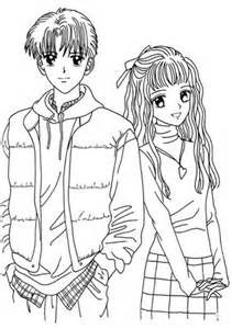 Anime Couple Coloring Pages | signage | Pinterest | Anime couples ...